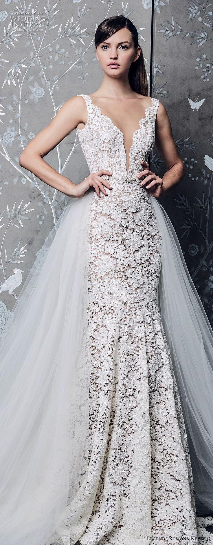 legends romona keveza fall 2018 sleeveless deep v neck full embellishment elegant romantic a line wedding dress a line overskirt chapel train (1) lv -- Legends Romona Keveza Fall 2018 Wedding Dresses