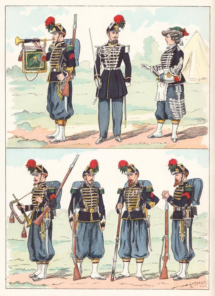 French; Imperial Guard, Chasseurs a Pied, 1860 from Hector Large's Le Costume Militaire Vol III