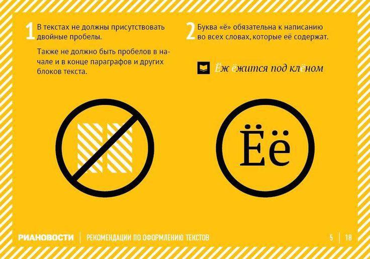 Как правильно оформлять тексты. Инфографика от РИА Новости