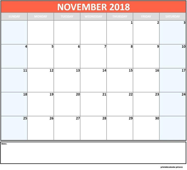 November Monthly Calendar 2018 November Monthly Calendar 2018