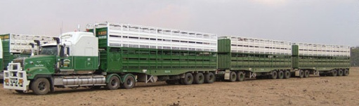 A typical Haulmark Type Two, or three trailer road train used in Northern Australia. There are three triaxle trailers joined together by two convertor dollies to make a combination up to 53 metres long, and weighing nominally 155 tonnes. http://haulmark.com.au   http://usedtrailers.com.au