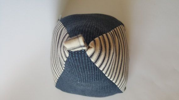 Extra Large, Extra Heavy, Navy Blue Striped Fabric Doorstop, Easy to Wash, Door Stopper