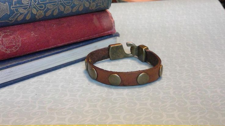 Anything but shy Brown Leather Bracelet with Brass Rivets and Clasp by BrandedCreed on Etsy
