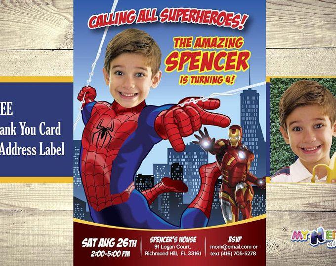Invitación de Spiderman con su niño como el Hombre Araña! Invitación de Cumpleaños Spiderman. El increible Hombre Araña. Fiesta Spiderman.