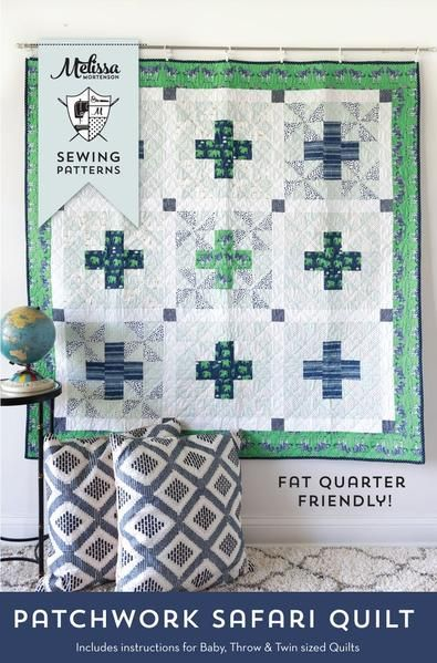 The Patchwork Safari Quilt is a fun take on a simple plus quilt pattern. It adds the extra dimension of a pinwheel block in the background.Quilt pattern is trad