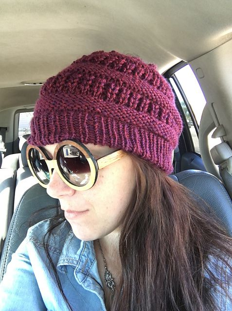 This slouchy hat is an easy and fun knit. The textured stitch ... 6a73f0ab97f