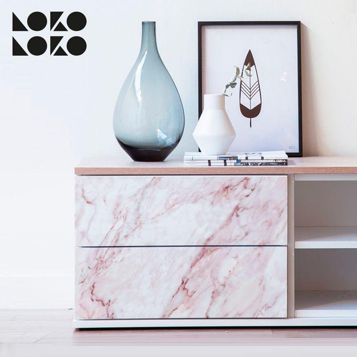 Vinilo de textura de mármol impresa · Decoración de muebles de salón con estilo #lokolokodecora #tendencia #hogar