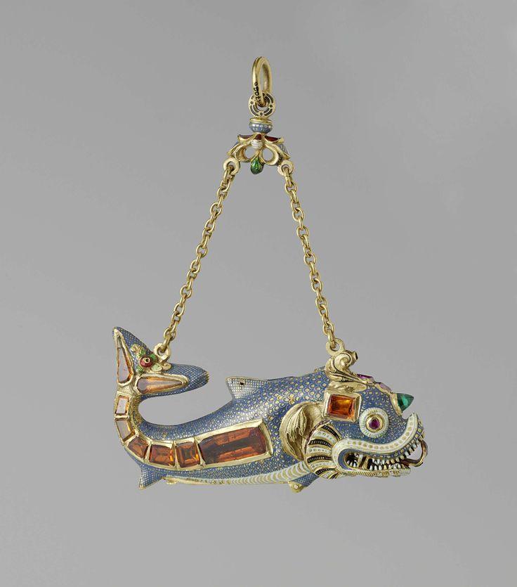 Hanger en necessaire in de vorm van een dolfijn, anoniem, c. 1600