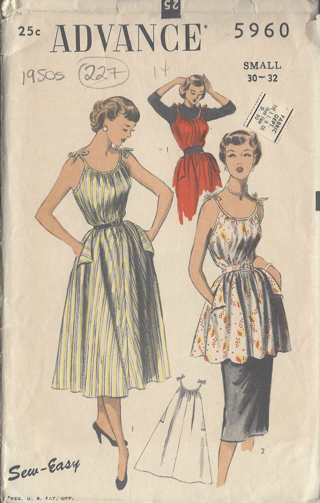 "1950s Vintage Sewing Pattern B30""-32"""" DRESS, SMOCK & APRON (227) #Advance"