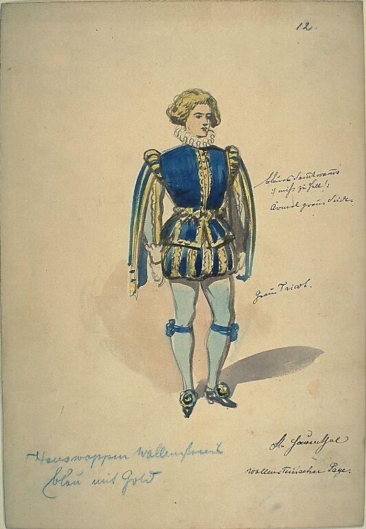 Kostümentwurf für die Figur des Pagen von Wallenstein aus 'Wallenstein' von Friedrich von Schiller | Franz Gaul | Bildindex der Kunst & Architektur