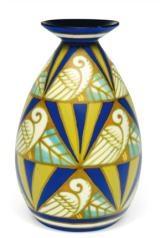Boch frères, Kéramis - ceramic XXth century  A very rare Art Déco keramis polychrome vase, repetitive design with stylized doves and palms. Signed Léon Delfant. @designerwallace