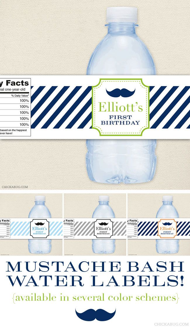 Mustache bash water labels! Available in several color schemes - Chickabug.com
