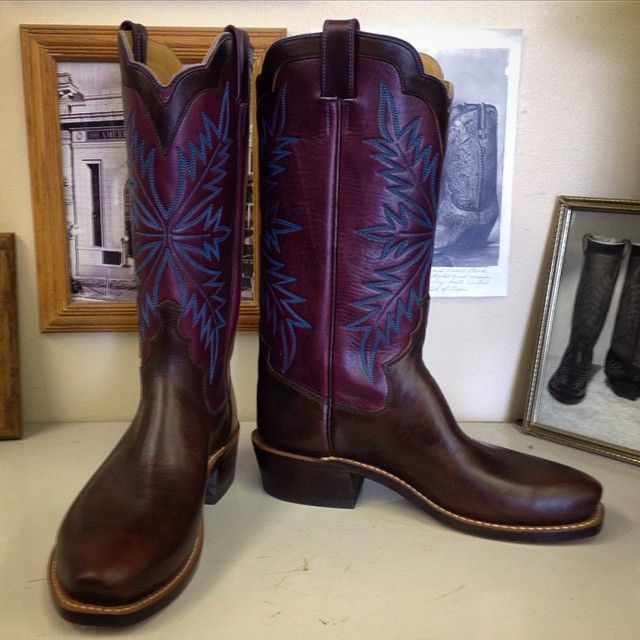 Custom Cowboy boot. Purple Horween uppers with turquoise Oak stitching, Chromexcel horsehide vamps with a Puncher toe. #beckcowboyboots #beckboots #customboots #boots #cowboyboots #handmadecowboyboots #madeintexas