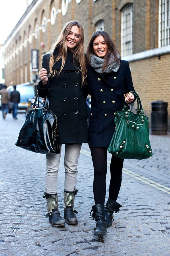 This is what I want in life, fashion wise: A navy pea-coat, cosy scarf and gloriously long hair.