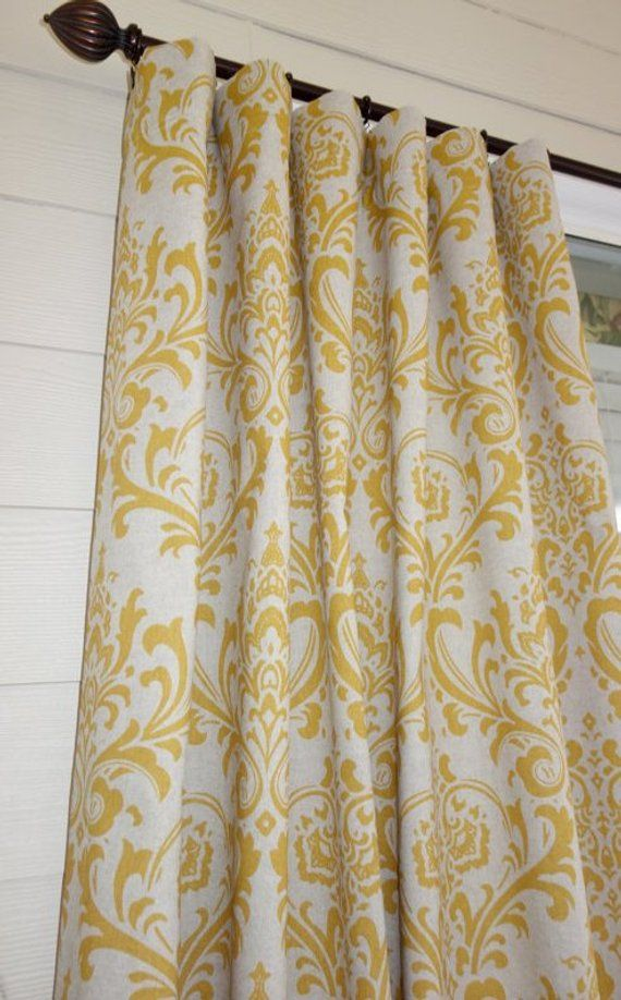 Rts One Curtain Panel 50w X 88l Traditions Yellow On Linen Drapes With Images Colorful Curtains Panel Curtains Damask Curtains