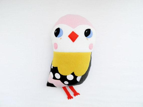 Little pink bird plush softoy by OneLittleRedFox on Etsy, €39.00