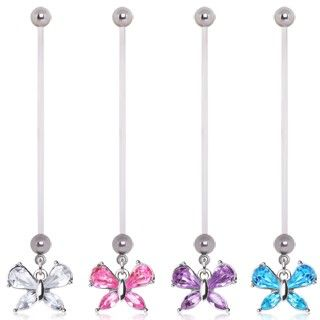 BioFlex Small Butterfly Dangle Pregnancy Navel Ring $6.99  #pregnant #preggers #expecting #mom #mommy #newmom #girl  #butterfly #gem #bellyring #navelring #piercing #bodymod  #bodyjewelry #jewelry  #cocobul #cocobulbodyjewelry