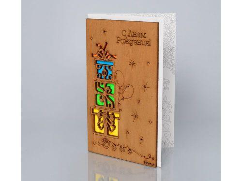 Открытка «С днем рождения! (Три подарка)» Деревянная открытка, открытка из дерева, новогодние открытки, открытки с днем рождения, деревянные открытки, открытки из дерева, оригинальный подарок, открытка - Zvetnoe.ru - картины по номерам, интернет-магазин товаров для хобби, корпоративные подарки, купить подарок