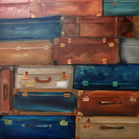 koffers- olieverf op doek 50x50 cm zie voor meer schilderijen: www.maaikesommer.seesle.nl