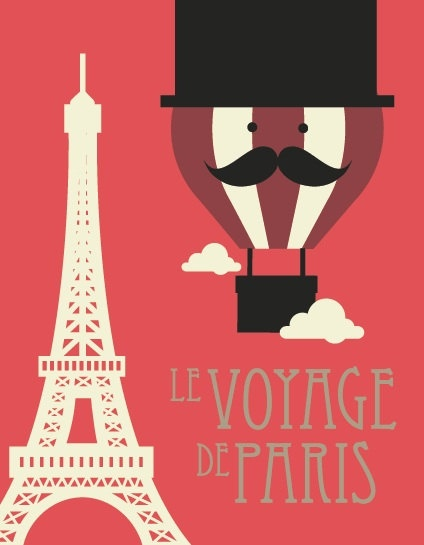 Vintage Style LeVoyage De Paris Moustache Hot Air Ballon Retro Poster. £9.99, via Etsy.