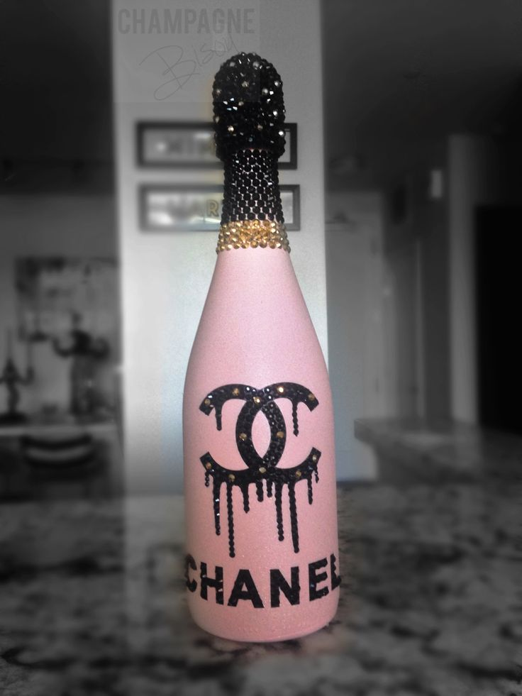 Chanel inspired pink champagne with Swarovski crystals and ...