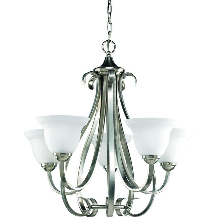 Progress Lighting Torino Collection 5 Light Brushed Nickel Chandelier Dining Room