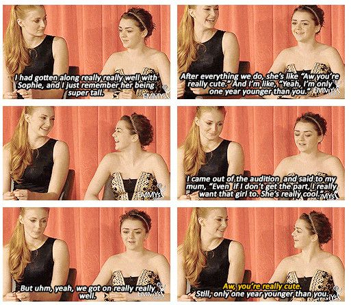 Sophie Turner and Maisie Williams. Game of thrones cast Sansa Stark Arya Stark