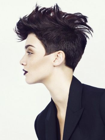 "Short Fohawk Haircut For Women. That's how I want the back. Not sure I could get the ""sideburns""/tips like that, thou."