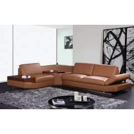 KN8464 - Contemporary Brown Leather Sectional Sofa with Audio Center - 2325.0000