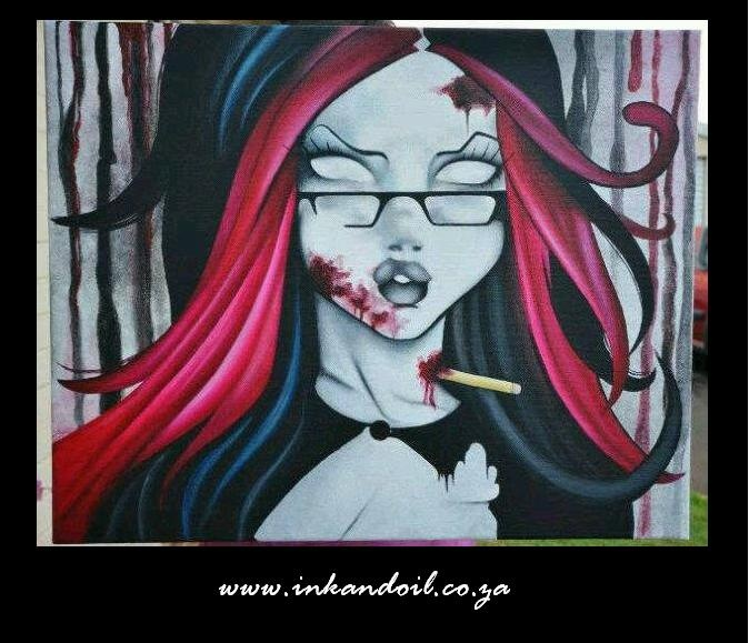 Commision zombie girl painting  Acrylic of canvas
