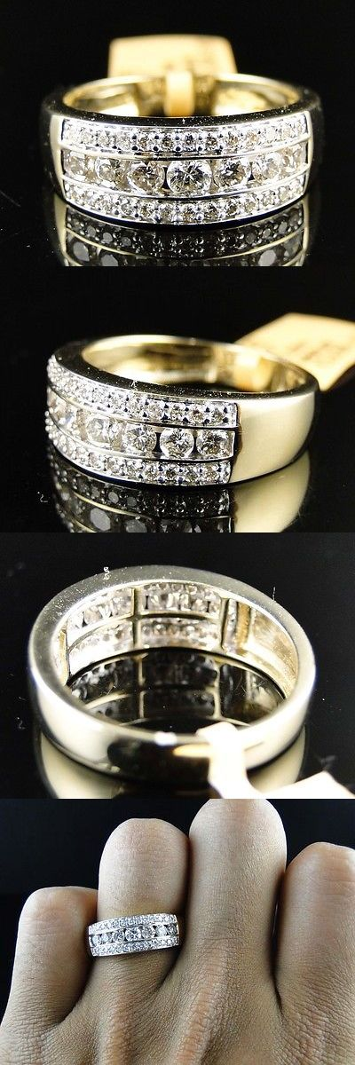 Rings 137856: New Mens Yellow Gold Round Cut Diamond 8 Mm Wedding Band Channel Ring 1.20 Ct -> BUY IT NOW ONLY: $999.99 on eBay!