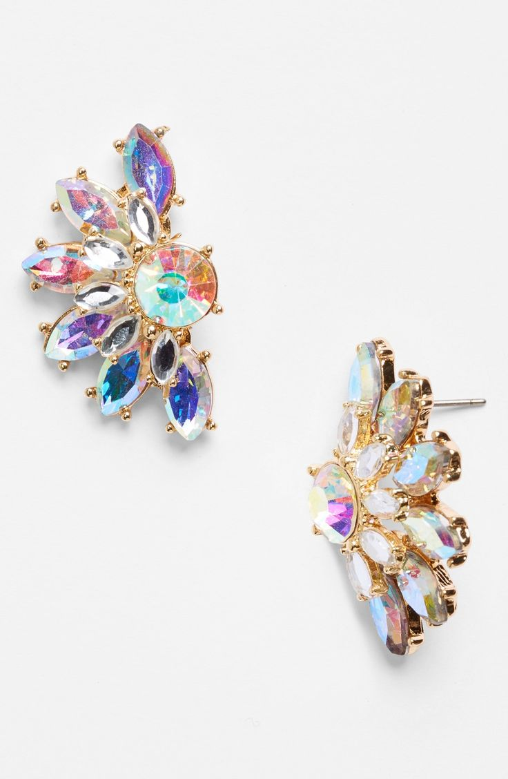 These Iridescent Crystal Fan Stud Earrings Are Going To Sparkle On The Dance