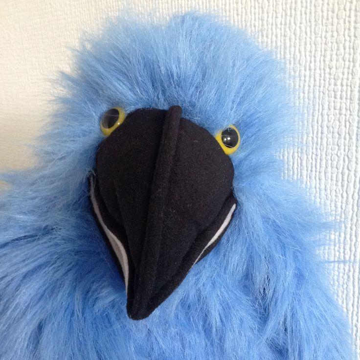 Big blue squawking bird puppet
