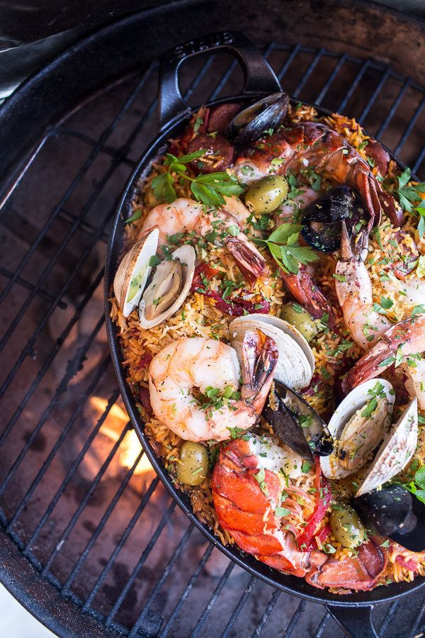 Try this delicious grilled seafood paella when you can't decide between chorizo and seafood: | 15 Grill Recipes That Will Take You Straight To Meat Heaven