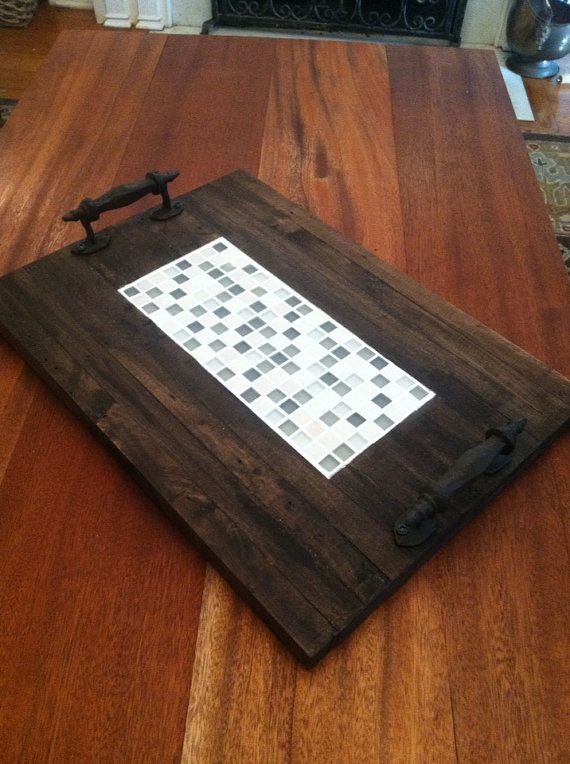 Reclaimed Dark Stained Pallet Wood Edge Grain Flat Serving Tray With Inlayed Mosaic Glass Tiles and Metal Handles on Etsy, $169.00 #etsy #naturecolorlovers