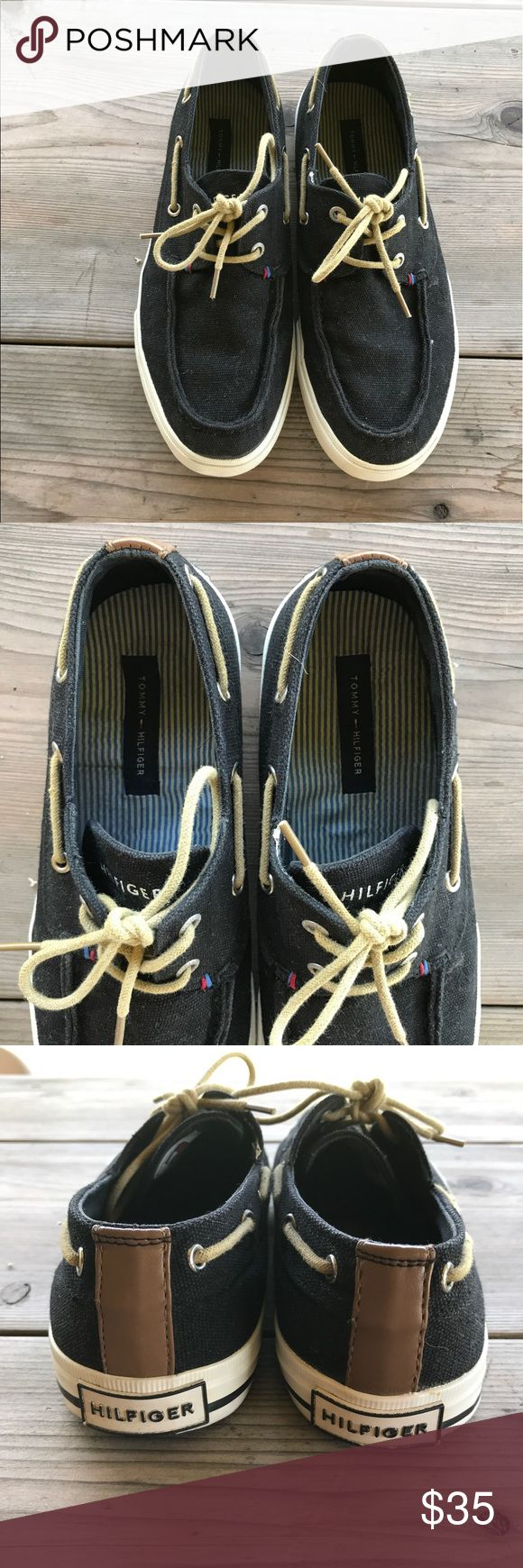Tommy Hilfiger Black Boat Shoes Boat style tennis shoes from Tommy Hilfiger. Black canvas material with tan shoe laces. Size 8. A little wear and tear on the soles but only wore a few times! Really comfortable and easy to slip on when you're on the go! Let us know if you have any questions :) Tommy Hilfiger Shoes Sneakers