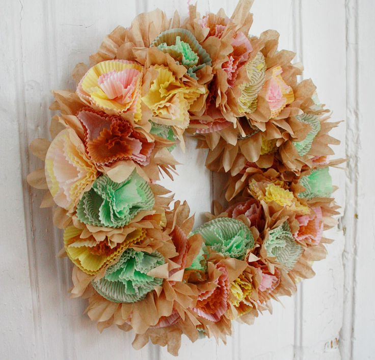 The World's Easiest and Foofiest Easter Wreath -- I think I would use white rather than brown coffee filters.