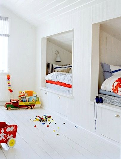 attic space with alcove for beds