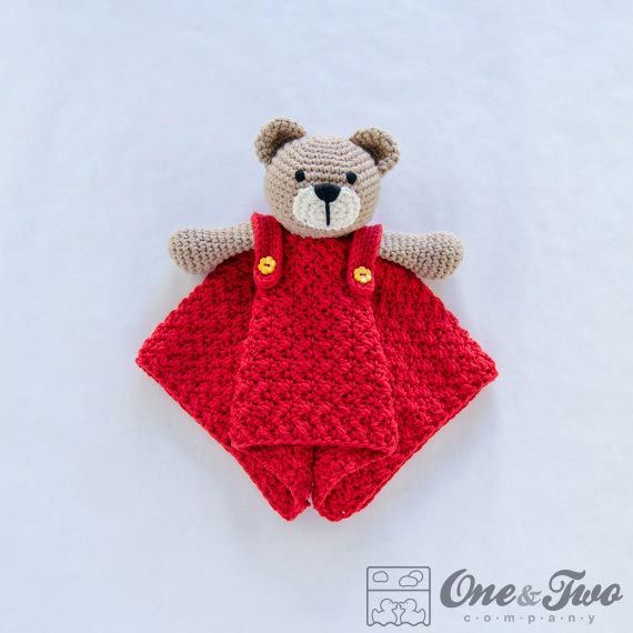 Teddy Bear security blanket crochet pattern by One and two company