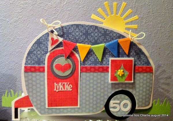 Handcut caravan card with banner and Lawn Fawn sun.
