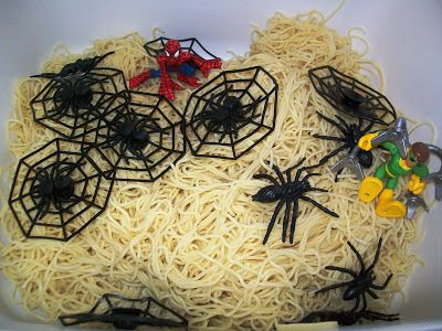 Every Star Is Different: Superhero Week (Spiderman sensory bin pictured - lots of other ideas)