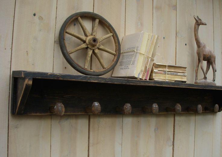 Railroad Spike Coat Rack - Rustic Shabby Cottage - Wall Shelf - Hooks - 40 Inch - The Original. $90.00, via Etsy.