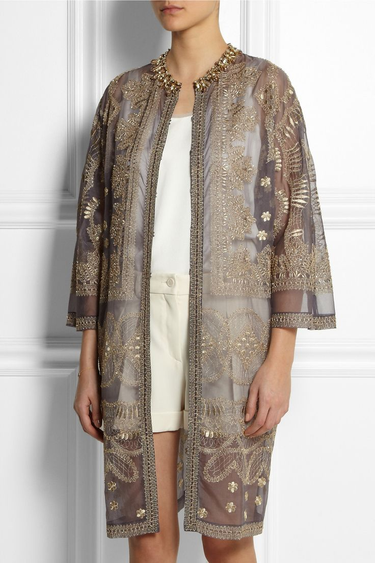 Biyan | Raya embellished silk-organza evening coat | NET-A-PORTER.COM