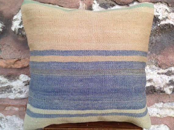 16' x 16' Toros Kilim Pillow Cover, 70 years old rug pillow, pastel pink blue green color striped cushion, vintage, 1940s, handmade.