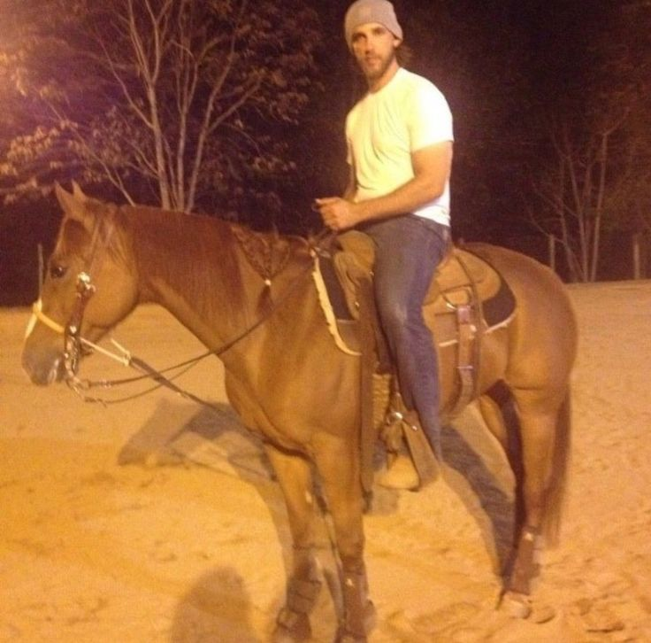 Madison Bumgarner on one of his horses