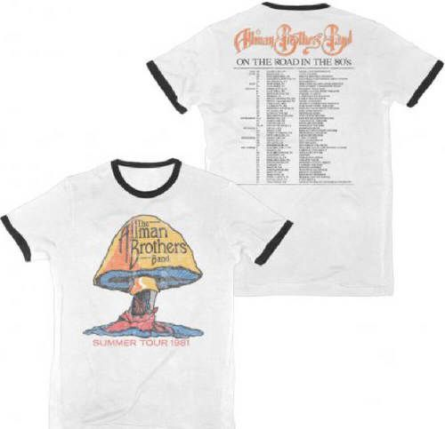 Allman Brothers Vintage Concert T-shirt - The Allman Brothers Band Summer Tour 1981. Men's White with Black Ringer Shirt