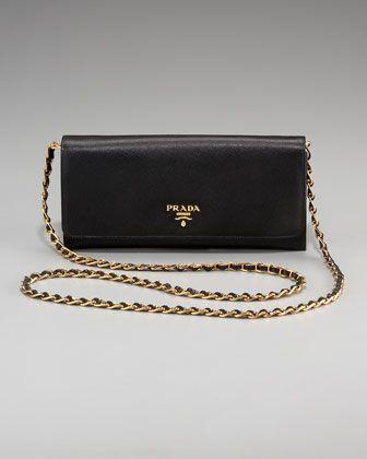 Saffiano Chain Crossbody Wallet by Prada at Bergdorf Goodman.