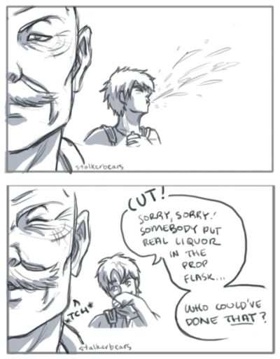 stalkerbears: I just really really love the snk actor au that's going around… I imagine Pixis' actor has been in the acting business the longest out of anyone else in the cast, so obviously he knows all the best pranks! (I also picture him being a classic star whose role in the show was specially created for him idk idk) based of this. also based off of these posts, to highlight a few. visit the tag for awesome people thinking up awesome things!!