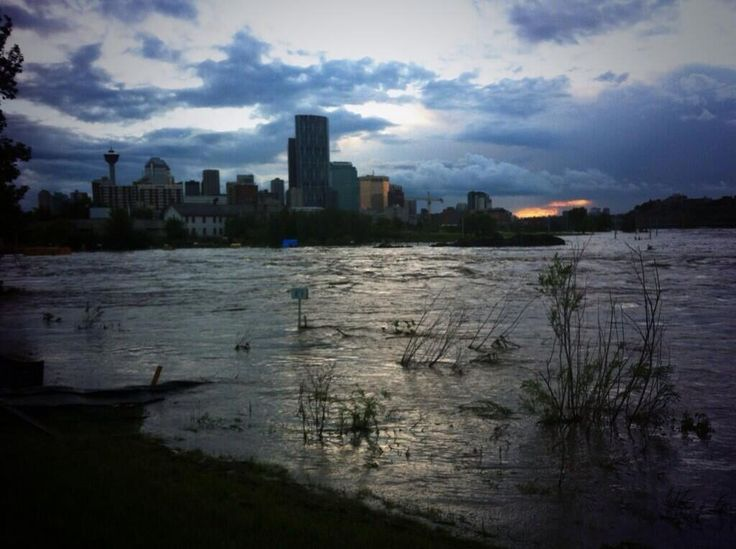 Calgary flood, downtown with no lights O.o #yycflood