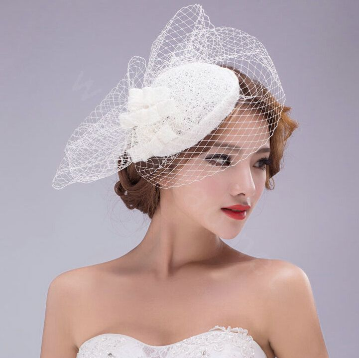 36 13 Vintage Gauze Bride Wedding Dress Hat Face Veils Bridal Fascinator Bride Accessories Bridal Hat Veil